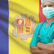 Stock Photo of Surgeon with flag on background series - Andorra