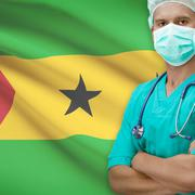Stock Photo of Surgeon with flag on background series - Sao Tome and Principe