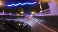 driving the car through the night city - stock footage