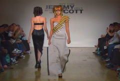 Fashion models walking on runway for Jeremy Scott Collection Stock Footage