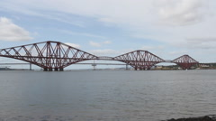 Timelapse of Forth Rail and Road Bridges Scotland Stock Footage