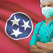 Surgeon with US states flags on background series - Tennessee Stock Photos