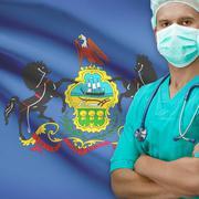 Surgeon with US states flags on background series - Pennsylvania Stock Photos