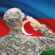 Stock Photo of Soldier in hat facing national flag series - Azerbaijan