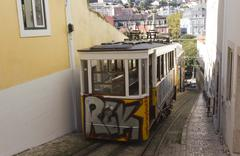 Stock Photo of The arrive of Lavra Funicular in Lisbon