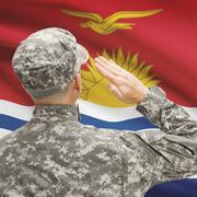 Stock Photo of Soldier in hat facing national flag series - Kiribati