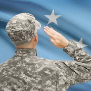 Soldier in hat facing national flag series - Micronesia Stock Photos