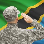 Soldier in hat facing national flag series - Tanzania - stock photo