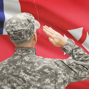 Soldier in hat facing national flag series - Wallis and Futuna - stock photo