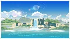 Waterfall and highlands Stock Illustration