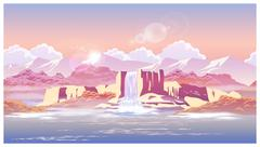 sunrise over the beautiful waterfall - stock illustration