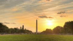 Sunset Behind Washington Monument - #2 Stock Footage