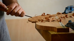 Luthier working in workplace Stock Footage