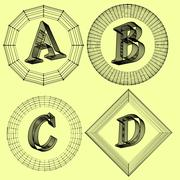 Vector illustration of letter . Fonts of Mesh polygonal. Wire frame contour Stock Illustration