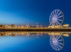 Ferris wheel at sea boulevard in Baku Azerbaijan - stock photo