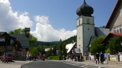 Karpacz town, Poland. The main promenade in the town Stock Footage
