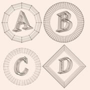 Vector illustration of letter . Fonts of Mesh polygonal. Wire frame contour - stock illustration