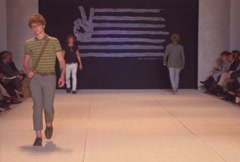 Fashion models walking on runway for John Varvatos Collection Stock Footage