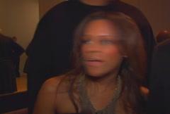 Kai Milla and Stevie Wonder being interviewed Stock Footage