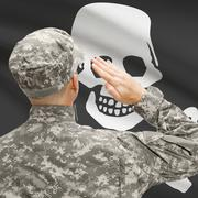 Young soldier saluting to flag series - Jolly Roger - stock photo