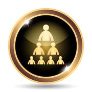 Stock Illustration of Organizational chart with people icon. Internet button on white background..