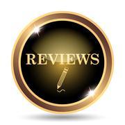 Reviews icon. Internet button on white background.. - stock illustration