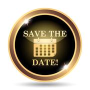 Save the date icon. Internet button on white background.. - stock illustration