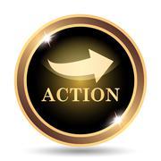 Action icon. Internet button on white background.. - stock illustration