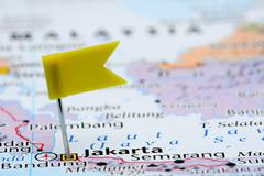 Jakarta pinned on a map of Asia - stock photo