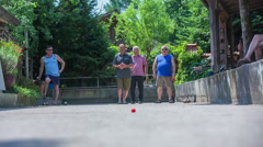 Senior men is throw the ball on his best abilities Stock Footage