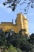 Yellow Part overview of Pena Nacional Palace in Sintra - stock photo