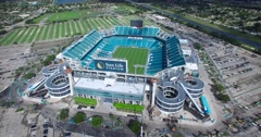 Aerial view of brand new Sun Life Stadium in 4K - stock footage