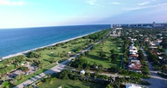 Drone shot of Golf Course on Beach in 4K Arkistovideo