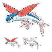 Flying Fish Cartoon Character Stock Illustration
