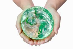 Woman holding globe on her hands,Elements of this image furnished by NASA - stock illustration