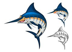 Blue Marlin Fish Cartoon Character - stock illustration