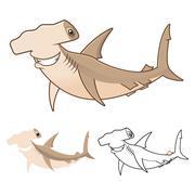 Hammerhead Shark Cartoon Character - stock illustration