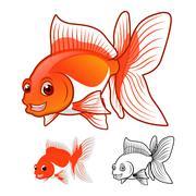Fantail GoldFish Cartoon Character - stock illustration