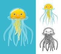 Jellyfish Cartoon Character - stock illustration