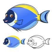 Powder Blue Surgeon Fish Cartoon Character Piirros