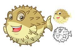 Puffer Fish Cartoon Character - stock illustration