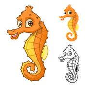 Seahorse Cartoon Character - stock illustration