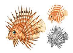 Tiger Fish Cartoon Character - stock illustration