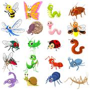 Set of Funny Insects Cartoon Character Flat Design Stock Illustration