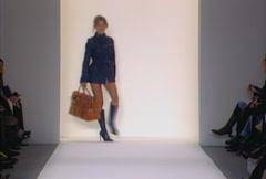 Fashion models walking on runway for Luella Bartley Collection Stock Footage