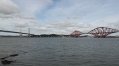 Queensferry Crossing Forth Road and Rail Bridges Scotland Stock Footage