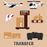 Air and rail freight service icons Stock Illustration