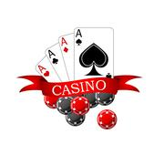 Casino icon with playing cards and chips - stock illustration