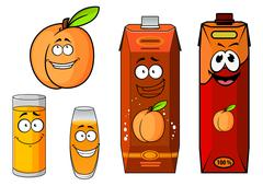 Stock Illustration of Apricot fruit, juice packs and glasses