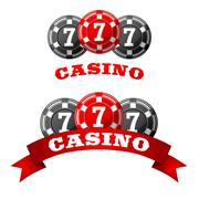 Jack pot icon with triple seven on chips - stock illustration